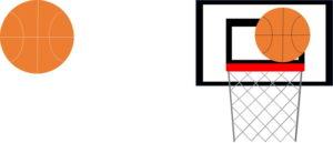 バスケットボールとバスケットゴールのイラスト